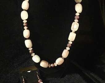 Rose Quartz Block Necklace Set