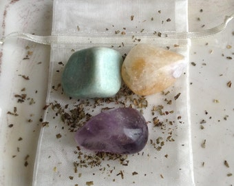 Healing Crystal Set for Stress Anxiety Amethyst Citrine and Amazonite CHARGED C4
