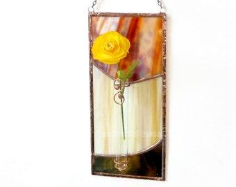 Stained Glass Panel Bud Vase Brown Beige Handmade OOAK