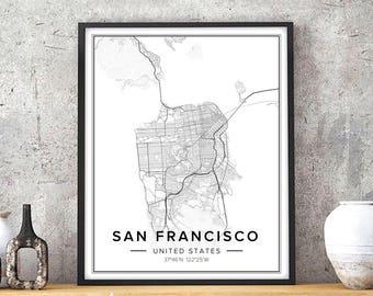 San francisco map Etsy