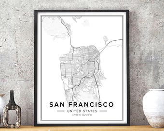 San Francisco Map, San Francisco Print, San Francisco Art, San Francisco  Poster,