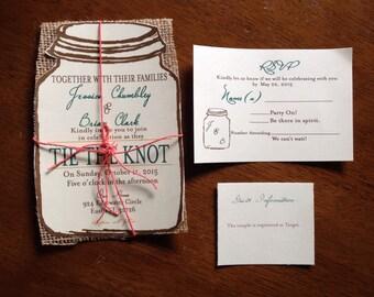 Mason Jar Wedding Invitation Set, Rustic Wedding Invitation, Burlap Wedding invitation, Chic Wedding Invitation 100