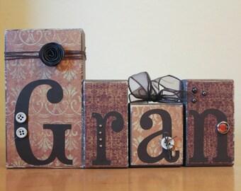 Rustic Gran Wood Blocks- Mother's Day Gram Gift- Custom Name Blocks- Personalized Blocks- Mimi Gift- Personalized Rustic Grandmother Gift