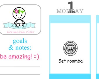 K003-Roomba Planner Stickers-Kawaii Roomba Sticker Sheet//Erin Condren, Happy Planner, All Other Planners, Scrapbooking, Crafts