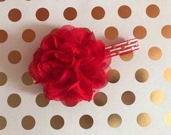 Red flower newborn headband
