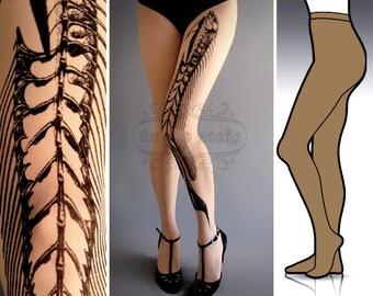 L/XL Fish Bone tattoo tights / stockings / full length / pantyhose / nylons Cafe Latte