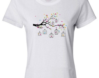 Tree Branch with Birds and Birdcages  - Women's T-shirt