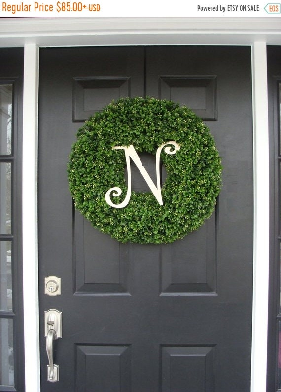 SUMMER WREATH SALE Monogram Boxwood Wreath, Year Round Wreath, Wedding Wreath, Monogram Wreath, Wedding Gift, Personalized Home Decor, Wall