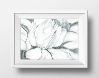 Gardenia Print from Original Drawing