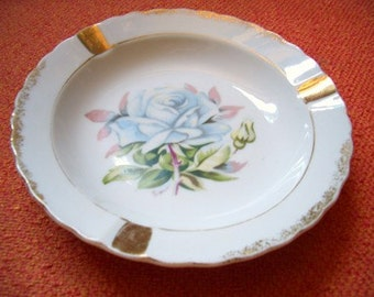 Vintage Rose Ashtray Shabby Cottage Chic Ring Jewelry Dish Porcelain Rose Made in Japan ... Moddities