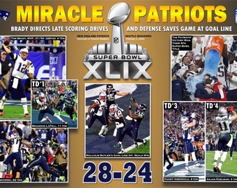 New England Patriots Dramatic Super Bowl XLIX Victory Poster