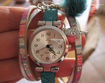 Silver leather and faux leather watch Cuff Bracelet beads and charms