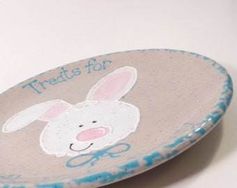 Easter Bunny Plate - Treats for the Easter Bunny Plate - Personalized Ceramic Plate - Hand Painted Easter Rabbit Snack Plate - Made in USA