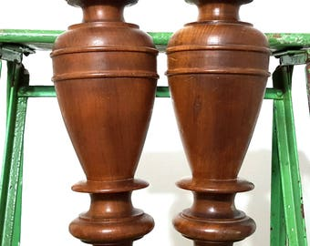"""TURNED BALASTER COLUMN 12"""" Matched Pair Antique French Carved Wood Architectural Salvage Salvaged Upcycled Custom Post Pillar Furniture"""