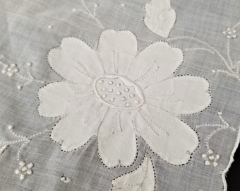 Vintage Large Hand Embroidered  and  Applique Floral White Handkerchief, White Floral Hankie, Wedding Hankerchief, 15 inch by 15 inch