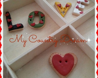 "Handmade Buttons ""Love"" - set of 5 pcs."