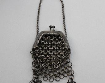 Miniature Antique German Chainmail Doll Purse / Victorian Coin Purse / Chatalaine Purse