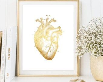 Gold Heart Print, Medical Printable sign, Anatomical Human Heart Poster, Gold Medical Illustration wall art printable DIGITAL FILES