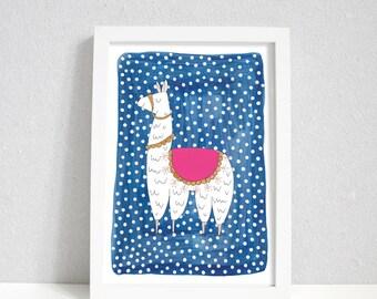 Dotty Llama | Llama print | Llama wall art | A4 & A5 Print