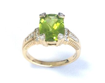 Rectangular Cut Faceted Peridot Ring