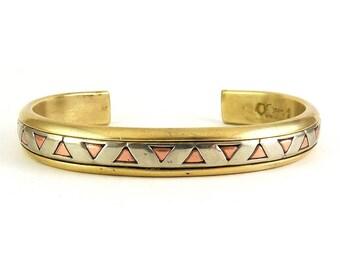 Sergio Lub Mixed Metals Diamond Back Cuff Bracelet, Brass, Copper & German Silver - Southwestern