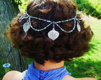 Short Version Silver Aspen Leaves Bridal hair chain Headpiece-fine silver real plated real leaves and Czech glass crystals halo crown