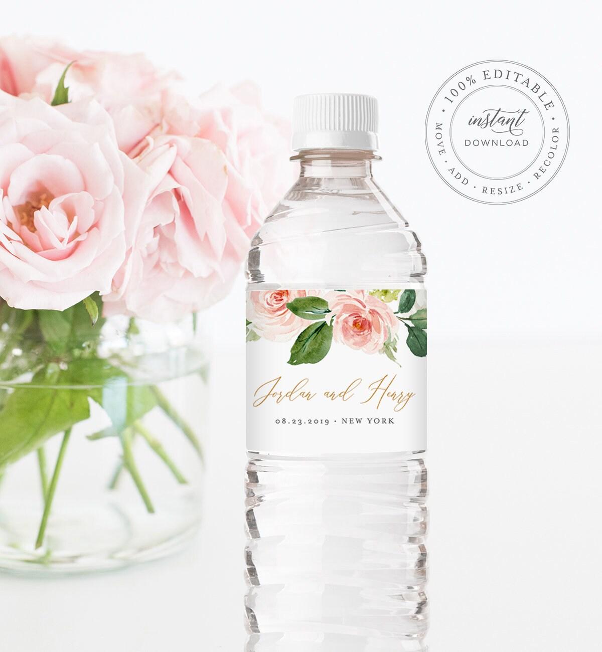 Water Bottle Label Template, INSTANT DOWNLOAD, Printable Custom ...