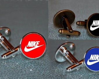 Nike Cufflinks - Nike Bronze and Silver Cufflinks - Nike Cuff links - Nike lover gift - sport lover Cufflinks - Men Cufflinks gift