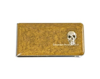 Silver Skull Head Money Clip Inlaid in Hand Painted Gold Metallic Enamel Steampunk Inspired Personalized and Custom Color Options