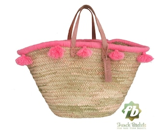French Baskets Pastel pink, French Basket, Moroccan Basket, straw bag, french market basket, Beach Bag, straw bag
