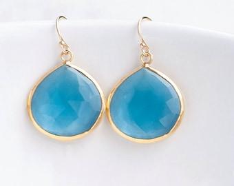 London Blue Topaz Drop Earrings, December Birthstone Earrings, Crystal Earrings Dangle, Something Blue, Birthday Gift for Her, Unique Gifts