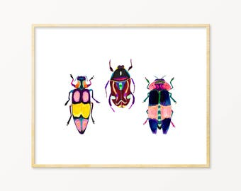 Colorful Beetle Wall Art. Beetle Art Print. Children's Room Decor. Playful Colored Insect Wall Art. Modern Apartment Wall Art. Dorm Room Art