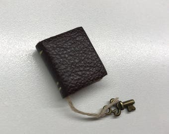 Brown Leather Book with Bronze key - Dollhouse Miniatures (Item B45)