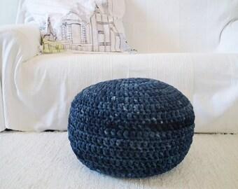 Navy Blue Tie Dye Floor Pouf Ottoman, Round Footstool, Navy Floor Pillow, Crochet Pouf, Knit Pouffe, Floor Cushion, Nautical Decor