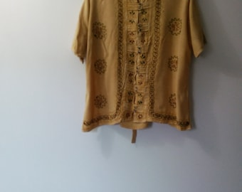 Vintage Cotton Gold Blouse Embroidered free size