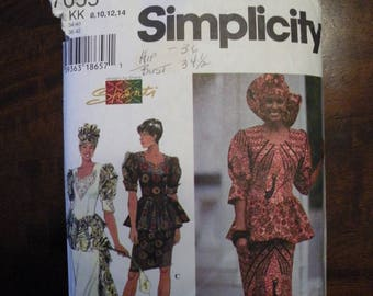 1996 Used Vintage Simplicity Pattern 7055 Misses Two Piece Dress Size 8-10-12-14