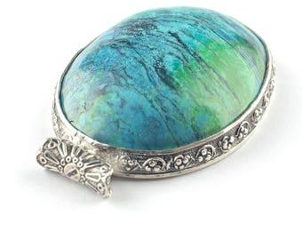 Chrysocolla pendant, Oval Chrysocolla  pendant, Large Chrysocolla pendant, Statement pendant, Blue silver pendant, Blue Chrysocolla jewelry
