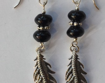 Sterling Silver Eagle Feather Earrings with Black Onyx Beads