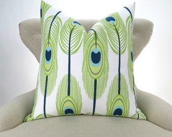 Peacock Feathers Pillow Cover -MANY SIZES- Cushion Cover, Decorative Throw, Lime Green, Navy Blue, White, Canal Premier Prints FreeShip