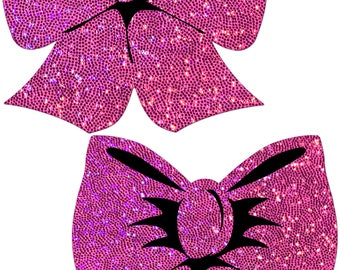 Pasties - Glittering Hot Pink Bow Nipple Pasties by Pastease® o/s