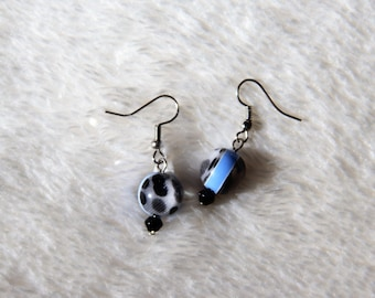 Black Spotted Drop Earrings Free US Shipping