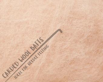 Skin Tone Colour Carded Wool Batts For Needle Felting 5g 10g 20g | 100% Sheep Wool | Needle Felting Wool | Skin Tone Flesh Wool Batts
