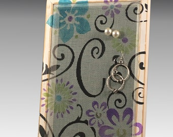 Shabby Chic Earring Holder for Pierced Earrings. Wood Frame Jewelry Organizer on Hand Painted Screen. Floral Scroll Monogram. Gift Idea!