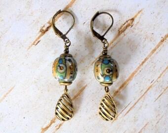 Green, Tan and Blue Ethnic Boho Earrings (4398)