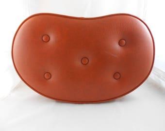 Vintage Kidney Shaped Burnt Orange Footstool Ottoman