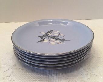 Homer Laughlin Blue Skytone Plates ~ Set of Six ~ Blue Mist ~Vintage
