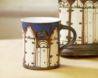 Blue Coffee Mug, Pottery Mug with Hand Painted Buildings, Hand Thrown Mug, Handmade Pottery, Ceramic Mug, Danko Pottery