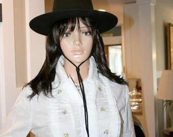 Bronco Ladies Black Cowboy Hat//100% Virgin Wool//Misto Felt Band//Vintage Cowboy Hat