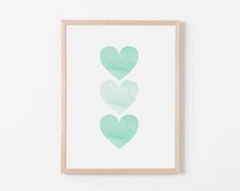 Mint Watercolor Hearts Nursery Art. Nursery Wall Art. Nursery Prints. Nursery Decor. Girl Wall Art. Mint Wall Art. Instant Download.