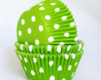 High Quality Green & White Polkadot Standard Size Cupcake Cases Cupcake Liners
